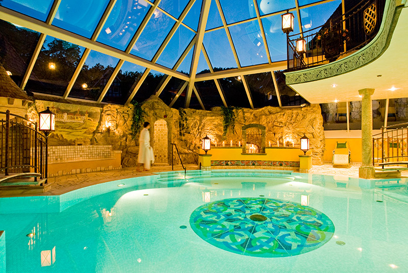 Pool area under the glass pyramid